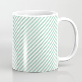 Diagonal Mint Stripes Coffee Mug