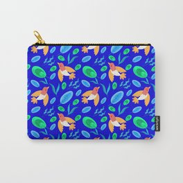 Pretty beautiful cute little birds, green blue delicate leaves, plants navy seamless pattern Carry-All Pouch