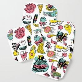 Weirdo Pizza Donut Sword Skull Pattern Coaster