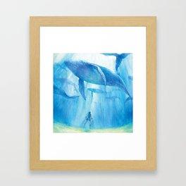 Flying in the sea Framed Art Print