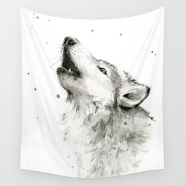 Wolf Howling Wall Tapestry