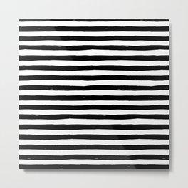 Black Bold Stripes Metal Print