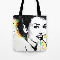 hepburn Tote Bags featuring AUDREY HEPBURN by Vertigo