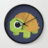 sea turtle Wall Clocks featuring Turtle by Adamzworld