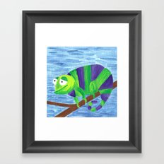 Green and Violet Chameleon Framed Art Print