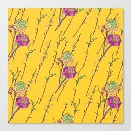 oriental flower stripe yellow Canvas Print