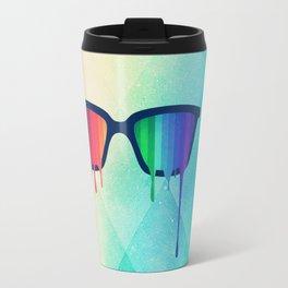 Love Wins! Rainbow - Spectrum (Pride) / Hipster Nerd Glasses Travel Mug