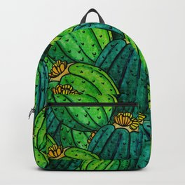 Barrel cactus watercolor white background Backpack