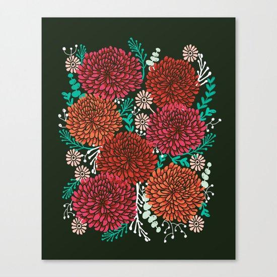 Chrysanthemums - Floral, Flower, Vintage, Design, Illustration by Andrea Lauren Canvas Print