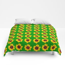 pattern yellow daisy on green background Comforters