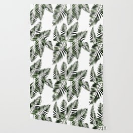 Watercolor tropical palm leaves Wallpaper