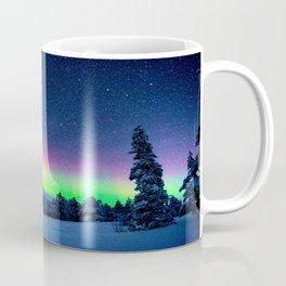 Aurora Borealis Over Wintry Mountains Coffee Mug