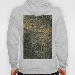 Fluid Black And Gold Acrylic Pour Painting Hoody