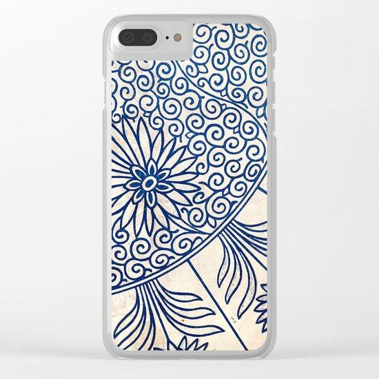 Blue Oriental Vintage Tile 01 Clear iPhone Case