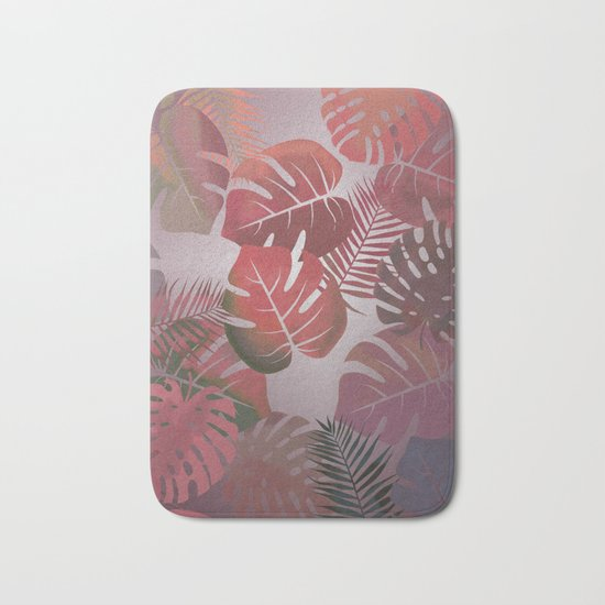 Tropical Autumn Leaves Bath Mat