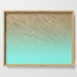 Elegant gold faux glitter chic teal gradient  trendy pattern Serving Tray