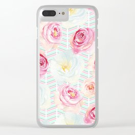 Hand painted pink yellow teal floral chevron pattern Clear iPhone Case