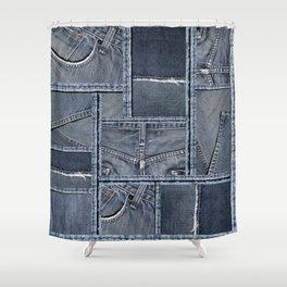 Blue Jeans Denim Patchwork Pattern Shower Curtain