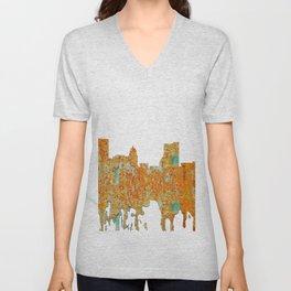 Fort Wayne, Indian Skyline - Rust Unisex V-Neck