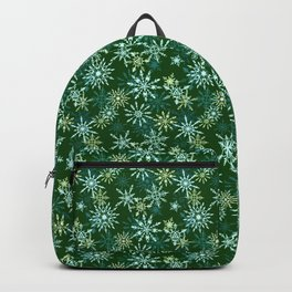 Festive Snowflakes in Green and Gold Backpack