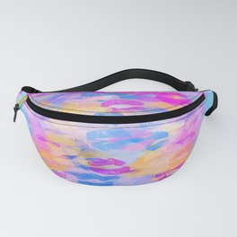 pink blue and purple kisses lipstick abstract background Fanny Pack