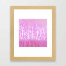 Frosted Winter Branches in Misty Pink Framed Art Print