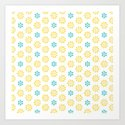 Spring Yellow Blue Flower Pattern by artaddiction45