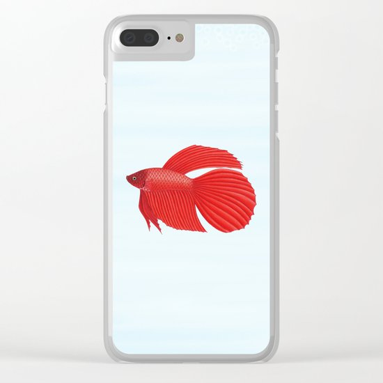 betta splendens red male Clear iPhone Case