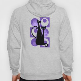 Purple Paradise Atomic Age Black Kitschy Cats Hoody