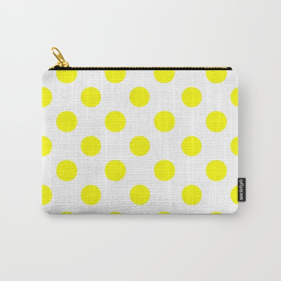 Polka Dots (Yellow/White) Carry-All Pouch