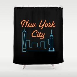 Neon New York City Skyline Shower Curtain