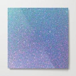 Aqua Pink Sparkles Metal Print