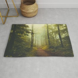 Deeper and Deeper - Hike Through Misty Forest Rug