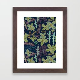 dark herbs pattern Framed Art Print