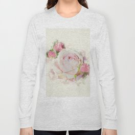Watercolor Pink Rose Long Sleeve T-shirt
