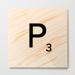 Scrabble Letter P - Large Scrabble Tiles Metal Print