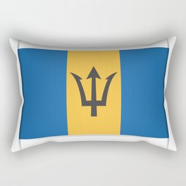 Flag of Barbados. The slit in the paper with shadows. Rectangular Pillow