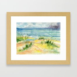 Stormy Beach Framed Art Print