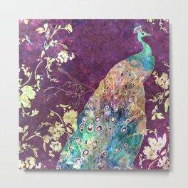 Peacock Eyes Purple Metal Print