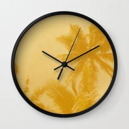 Palm Trees in Mustard Wall Clock