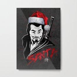 Samurai Santa at Christmas, Ronin Metal Print