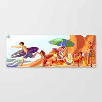percy jackson Canvas Prints featuring Demigod Beach Day by chubunu