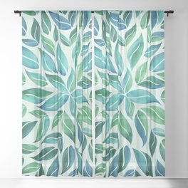 Summertime Blues Leaf Burst Sheer Curtain
