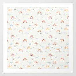 Rainbow love pattern Art Print
