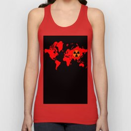 world map with radioactive sign Unisex Tank Top