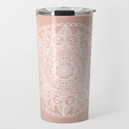 White Mandala on Rose Gold Travel Mug