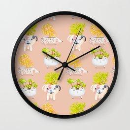 Kawaii dog cat hedgehog succulents Wall Clock