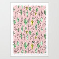 Green & Yellow Cactus on Pink Art Print