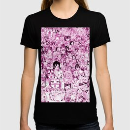 Ahegao Hentai Collage pink T-shirt