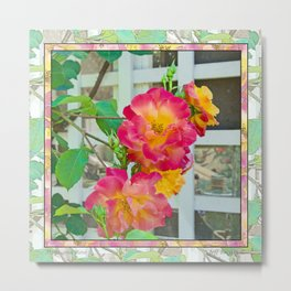TROPICANA ROSE ON WHITE LATTICE Metal Print